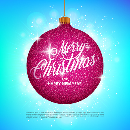 Hanging Christmas ball with sparkling metal glitter effect and Merry Christmas lettering on colorful background. Perfect to use for holidays greeting cards, flyers, banners, gift tags and labels.