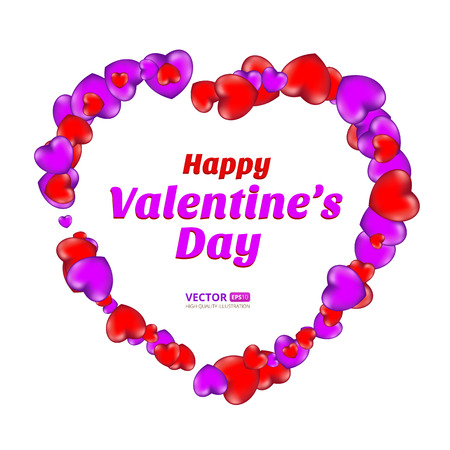 Happy Valentines Day frame consisting of red and violet hearts isolated on white background. Vector illustration. Perfect to use for print layouts, web banners design and other creative projects