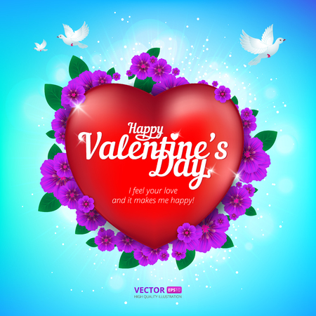 Happy Valentines Day greeting card with red heart and flying birds on blue sky background. Vector illustration. Perfect to use for print layouts, web banners design and other creative projects Illusztráció