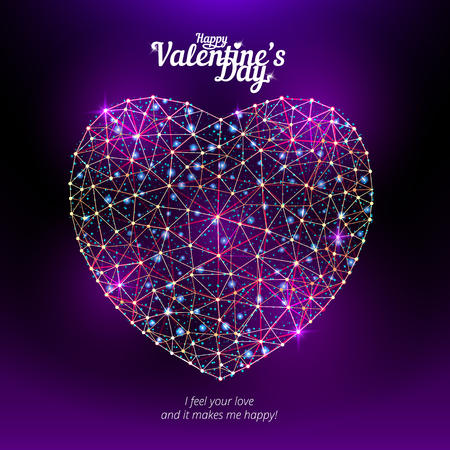 Vector heart to Happy Valentines Day consisting of polygons and points on dark violet background. Vector illustration. Perfect to use for print layouts, web banners design and other creative projects