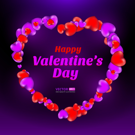 Happy Valentines Day frame consisting of red and violet hearts on dark background. Vector illustration. Perfect to use for print layouts, web banners design and other creative projects Illusztráció