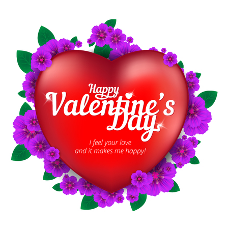 Happy Valentines Day greeting card with red heart and flowers isolated on white background. Vector illustration. Perfect to use for print layouts, web banners design and other creative projects