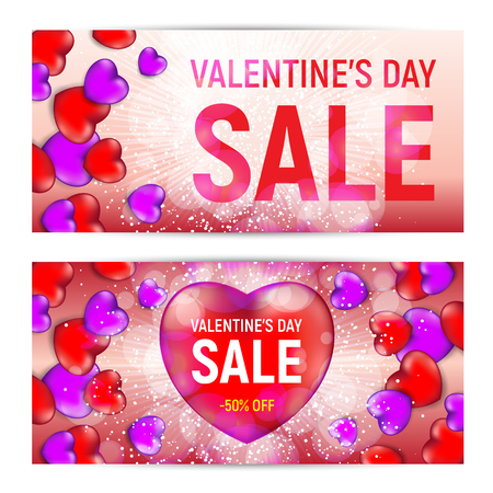 Happy valentines day sale banners isolated on white background. Vector illustration. Perfect to use for flyers, posters, vouchers, web banners design and other creative projects