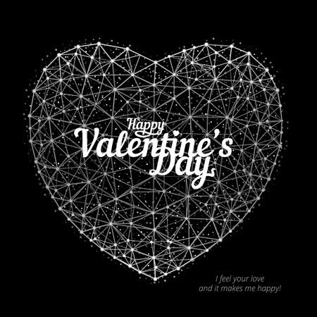 Vector illustration of heart to Happy Valentines Day consisting of polygons, points and lines on black background. Perfect to use for print layouts, web banners design and other creative projects