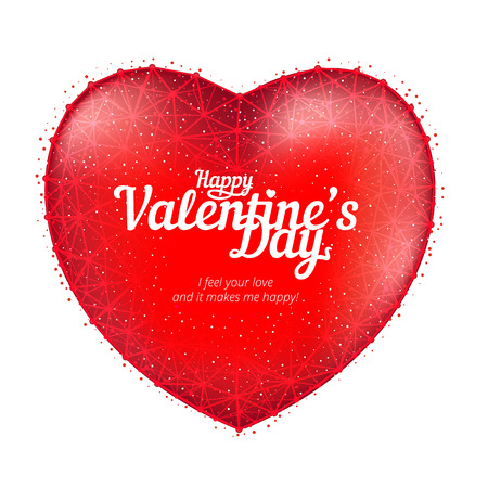 Red heart to Happy Valentines Day consisting of polygons and points isolated on white background. Vector illustration. Perfect to use for print layouts, web banners design and other creative projects