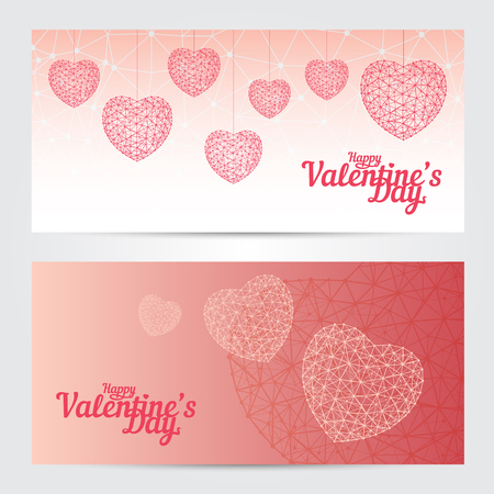 Set of Happy Valentines day greeting cards or banners isolated on white background. Vector illustration. Perfect to use for print layouts, web banners design and other creative projects Illusztráció