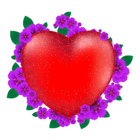 Red heart with flowers to Happy Valentines Day consisting of polygons and points isolated on white background.