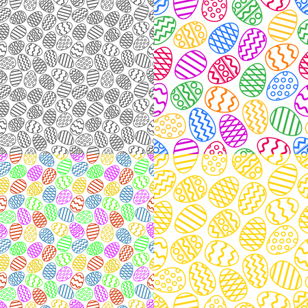 Vector set of colorful easter eggs seamless pattern. Perfect to use for printing on textile or gift wrap and wallpapers Illusztráció