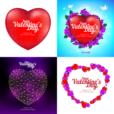 Vector set of Happy Valentines Day greeting cards with red heart, flying birds.