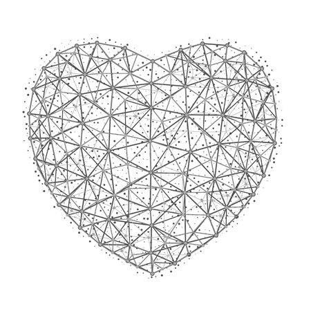 Vector illustration of heart to Happy Valentines Day consisting of polygons, points and lines isolated on white background.