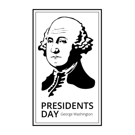 George Washington silhouette to Happy Presidents Day - National american holiday.