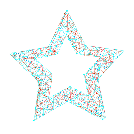 Vector polygonal abstract image of star consisting of dots, points and lines isolated on white background. Illusztráció