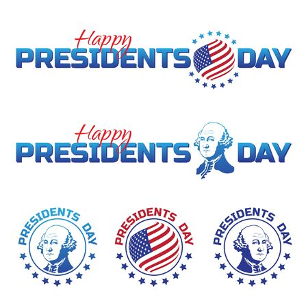 Set of vector elements or logos to Happy Presidents Day - National american holiday.