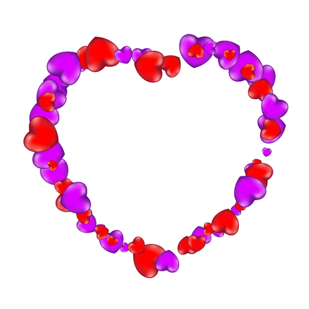 Happy Valentines Day frame consisting of red and violet hearts isolated on white background.