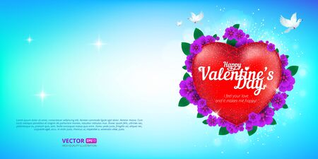 Happy Valentines Day greeting card with red heart and flying birds on blue sky background.