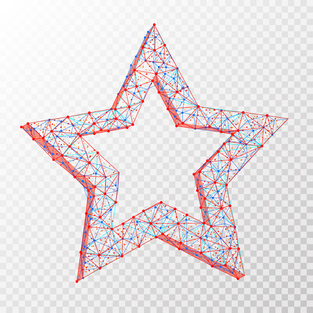 Vector polygonal abstract image of star consisting of dots, points and lines isolated on transparent background.