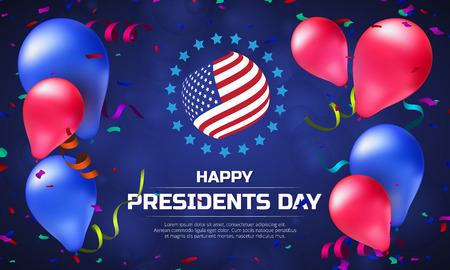 Greeting card or banner with striped flag and balloons to Happy Presidents Day. Illusztráció