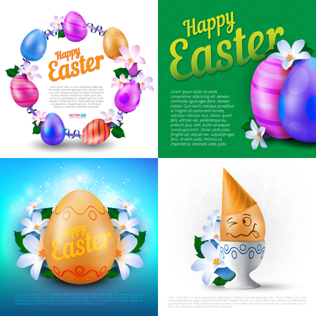 Happy Easter holidays vector set of greeting cards, posters or banners with colour painted eggs and spring flowers.