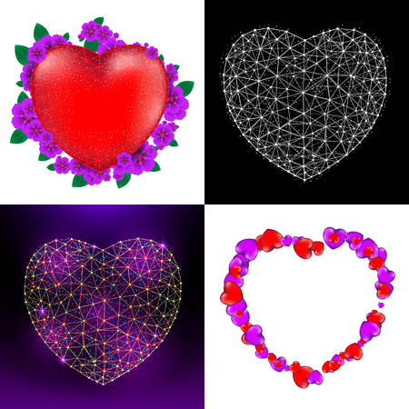 Vector set of Happy Valentines Day greeting cards with red heart, flowers and heart consisting of polygons.