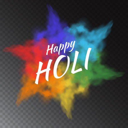 Colorful vector powder paint clouds isolated on transparent background for greeting cards to Happy Holi - indian festival of colors.