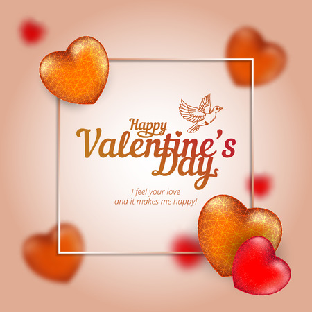 Vector frame with golden and red hearts to Happy Valentines Day consisting of polygons and points with flying dove.
