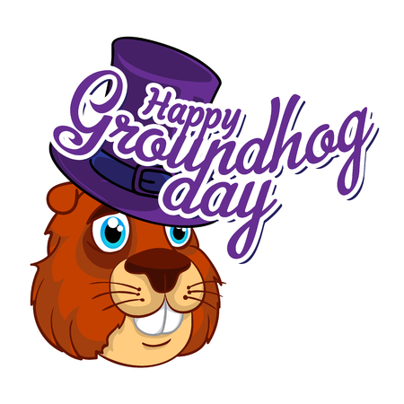 Cartoon Old Groundhog in a hat and the inscription. Vector illustration to the Groundhog Day.