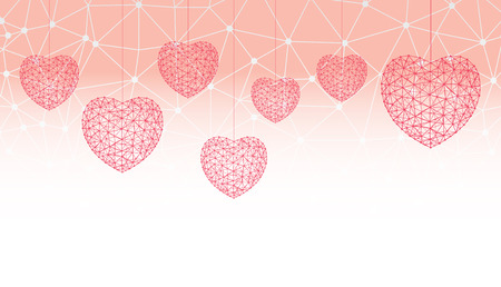 Happy Valentines day greeting card or banner witn hearts consisting of polygons and dots. Vector illustration. Perfect to use for print layouts, web banners design and other creative projects