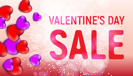 Happy valentines day sale banner with red and pink hearts and light flares. Vector illustration.