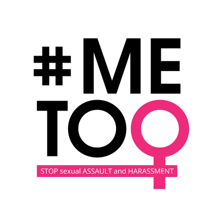 Me Too social movement hashtag against sexual assault and harassment. Vector illustration isolated on white background.