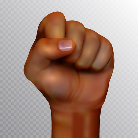 African american human fist raised up isolated on transparent background. Realistic vector illustration. Perfect for posters or banners advertising design and other creative projects Illusztráció