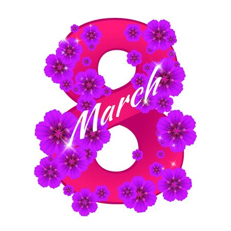 Greeting card with number eight consisting of flowers to 8 March holiday - International Womens Day. Vector illustration. Can be used for badges, posters or banners design and other creative projects