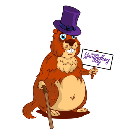 Cartoon Old Groundhog in a hat with cane and sign with text: Happy Groundhog Day. Vector illustration. Perfect for flyers, posters, vouchers, banners advertising design and other creative projects