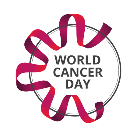 Vector illustration to 4 February - World Cancer Day with awareness red ribbon isolated on white background. Can be used for badges, posters or web banners design and other creative projects