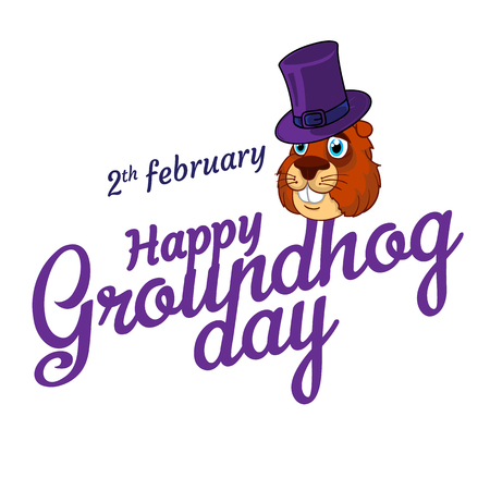 Cartoon Old Groundhog in hat and the inscription: 2 February. Happy Groundhog Day. Vector illustration. Perfect to use flyers, posters, vouchers, banners advertising design and other creative projects