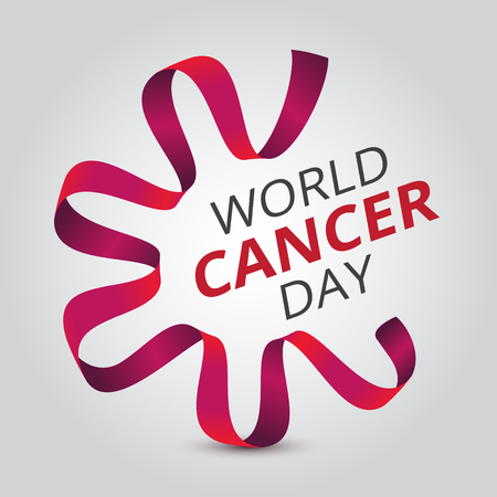 Vector illustration to 4 February - World Cancer Day with awareness red ribbon and text. Can be used for badges, posters or web banners design and other creative projects Illusztráció