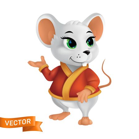 White rat or mouse in red bathrobe or cape with golden elements. Funny 3D style vector character symbol of the year in the Chinese zodiac or New Year 2020 asian calendar isolated on white background