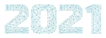 2021 year triangle 3d digital web banner with futuristic numbers isolated on white background. Abstract vector polygonal wireframe consisting of dots, points and lines with texture of space starry sky Illusztráció