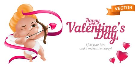 Happy Valentine's Day web banner or flyer with baby cupid and bow, pink ribbon and 3D hearts. Vector illustration isolated on white background. Can be used for February 14 Day of love holiday design