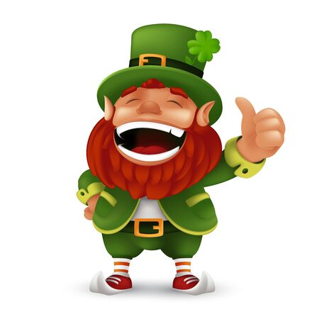 Cute cartoon Leprechaun character laughing and giving thumbs up to Happy Saint Patricks Day celebration. Vector Irish folklore fulfilling wishes dwarf mascot illustration isolated on white background