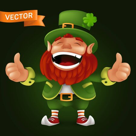 Cute cartoon Leprechaun character laughing and giving thumbs up to Happy Saint Patricks Day celebration. Vector illustration of Irish folklore fulfilling wishes dwarf mascot with brown beard and hat Ilustração