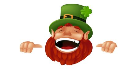 Funny cartoon Leprechaun character laughing and holding sign to Happy Saint Patricks Day celebration. Vector illustration with hiding and peeking Irish dwarf mascot isolated on white background