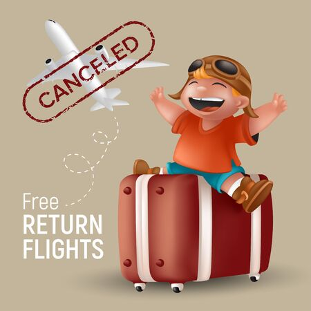 Free return flights vector illustration with airplane and cartoon little boy in orange tshirt and pilot glasses sitting with raising hands on brown suitcase. Kid traveler character with canceled stamp