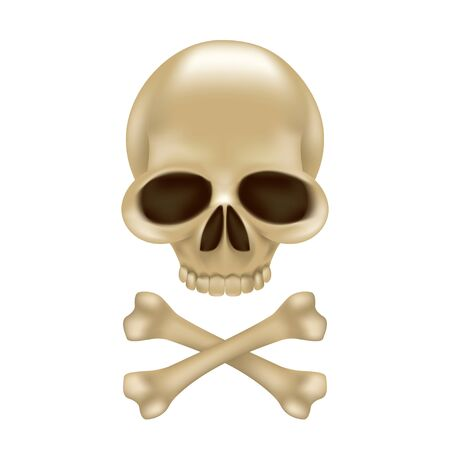 Pirate skull and crossbones without hat 3D sign or emblem. Funny vector illustration of jolly roger isolated on white background