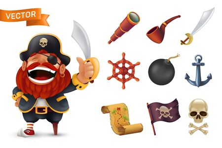 Sea pirate icon set with red-bearded captain character, human skull, saber, anchor, steering wheel, spyglass, bomb, pipe, black jolly roger flag and treasure map. Vector illustration isolated on white