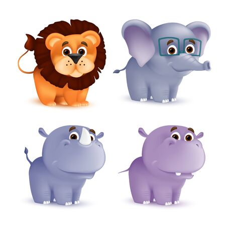 Cute standing and smiling cartoon baby characters set - rhino, lion, elephant, hippo. Vector illustration of an African wildlife mascot newborn animals isolated on white background