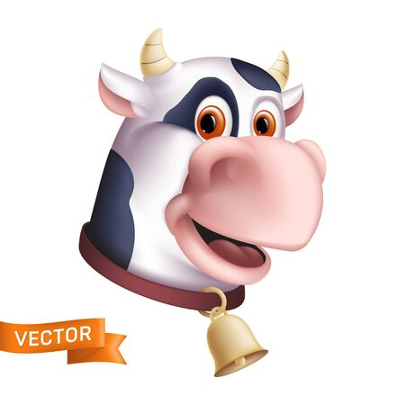 Funny smiling cow character. Cartoon mascot head. Vector illustration of a horned domestic animal with a golden bell isolated on a white background. Great for a graphic design to the world milk day