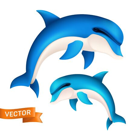 Realistic blue dolphin in motion. Vector illustration of cute jumping sea fish or swimming aquatic mammal isolated on white background
