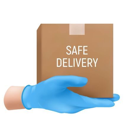 Safe delivery concept with a human hand in a blue rubber glove holding cardboard box. Vector illustration of shipping service isolated on white background
