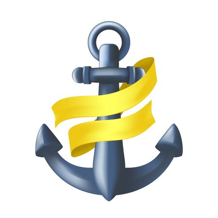Antique blue metal maritime anchor with yellow ribbon wrapped around it. Nautical ancient symbol. Vector illustration of vessel mooring device or heavy ship attribute isolated on white background