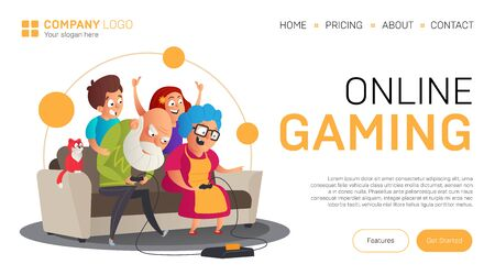 Online gaming landing page or banner template. Vector illustration in flat style with funny grandparents play video games with their grandchildren while sitting on the sofa isolated on white